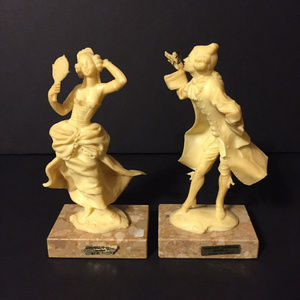 Other - Vtg Victorian Carrara Marble Base Figurines ITALY